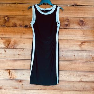 Chaps fitted sleeveless navy dress